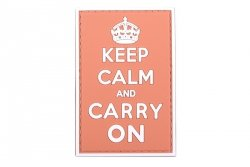 Naszywka 3D - Keep Calm And Carry On - czerwona