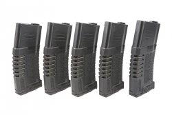 Zestaw 5 magazynków hi-cap PMG 300 kulek do do replik typu M4/M16 - czarny