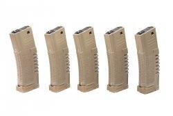 Zestaw 5 magazynków hi-cap PMG 300 kulek do do replik typu M4/M16 - dark earth