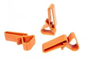 Zestaw 3 polimerowych klamer do oporządzenia - pomarańczowy