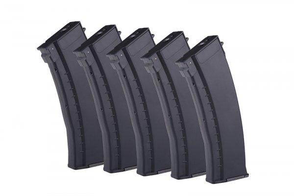 Zestaw 5 magazynków mid-cap 120 kulek do replik typu AK74 - czarny