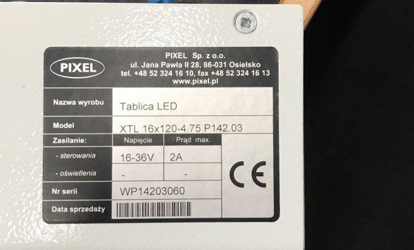 Tablica LED XTL 16x120-4.75AR, obudowa: stal - Produkt kolekcjonerski