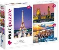 Puzzle 3x1000 Clementoni 08009 Multi Puzzle - Miasta