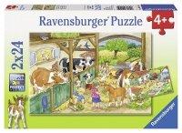 Puzzle 2x24 Ravensburger 091959 Na Wsi 2w1