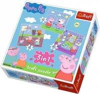 Puzzle 3w1 Trefl T-34813 Świnka Peppa - Zabawy w Szkole