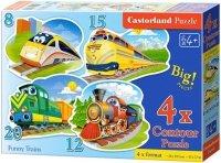 Puzzle 8,12,15,20 Castorland B-043033 Pociągi