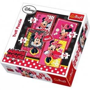 Puzzle 4w1 Trefl T-34119 Myszka Miki - Piękna Minnie