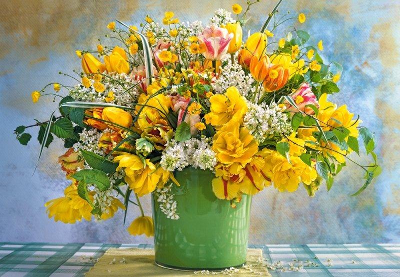 Puzzle 1000 Castorland C-104567 Bukiet - Wiosenne Kwiaty w Zielonym Wazonie