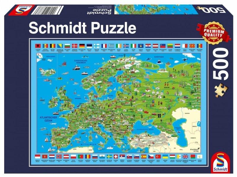 Puzzle 500 Schmidt 58373 Mapa - Odkrywanie Europy
