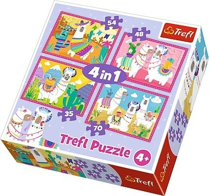 Puzzle 4w1 Trefl T-34322 Lamy na Wakacjach