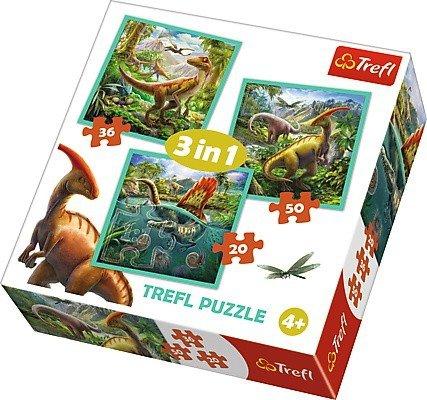 Puzzle 3w1 Trefl T-34837 Niezwykły Świat Dinozaurów
