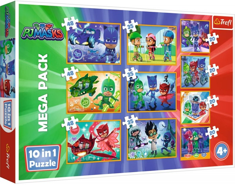 Puzzle 10w1 Trefl 90357 Dzielni Pidżamersi