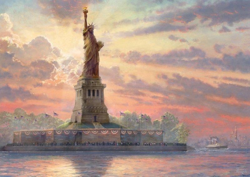 Puzzle 1000 Schmidt 59498 Thomas Kinkade - Statua Wolności - New York (Świecą w ciemności)
