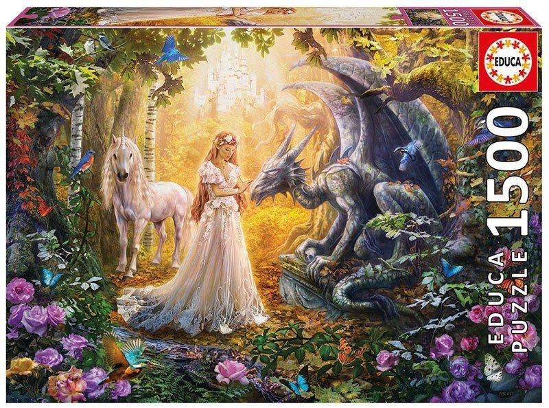 Puzzle 1500 Educa 17696 Smok - księżniczka i Jednorożec