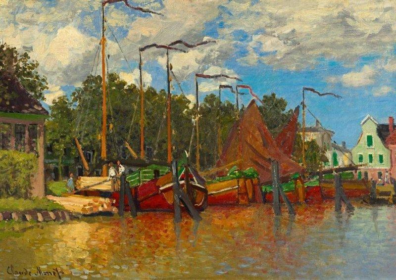 Puzzle 1000 Bluebird 60031 Claude Monet - Łodzie w Zaandam - 1871