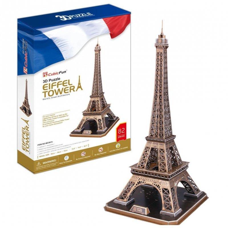 Puzzle 3D CubicFun 82 Wieża Eiffla - Duży Zestaw - MC091h