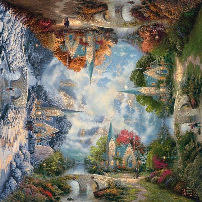 Puzzle 1000 Schmidt 59295 Thomas Kinkade - Kościół w Górach - Kwadratowe