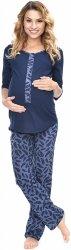 MijaCulture - 3 w 1 piżama ciążowa i do karmienia 4054/M52 granat/piórka2