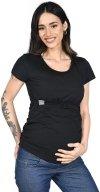 MijaCulture - bluzka 2 w 1 ciążowa i do karmienia krótki rękaw M03/3074 czarny