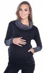 """MijaCulture - 3 w 1 bluza ciążowa i do karmienia """"Maddy"""" 7115 czarny/grafit"""