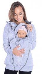 MijaCulture - 3 w1 bluza 3D ciążowa i do noszenia dziecka  4046/M50 melanż