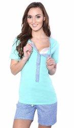 MijaCulture - 3 w 1 piżama ciążowa i do karmienia 4030/M47 turkus/niebieski