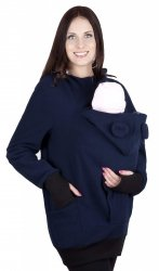 MijaCulture - bluza polarowa do noszenia dziecka 4019A/M21 ciemny granat/szary