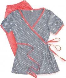 Urocza piżama 2 w 1 ciążowa i do karmienia 5001/654  brzoskwinia