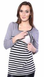 MijaCulture - 2 w 1 bluzka ciążowa i do karmienia w paski 4021/M39 szary