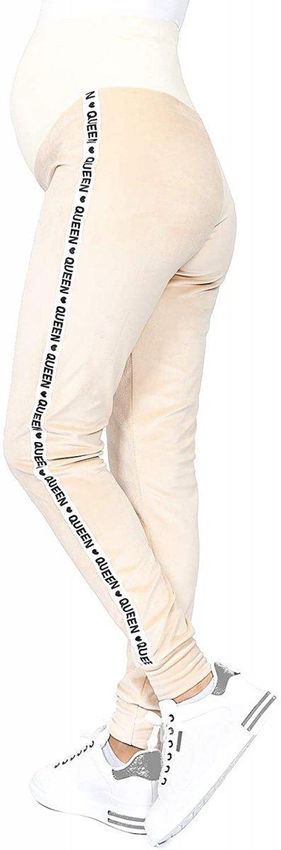 Wygodne spodnie ciązowe dresowe welurowe  9096 beż/queen1