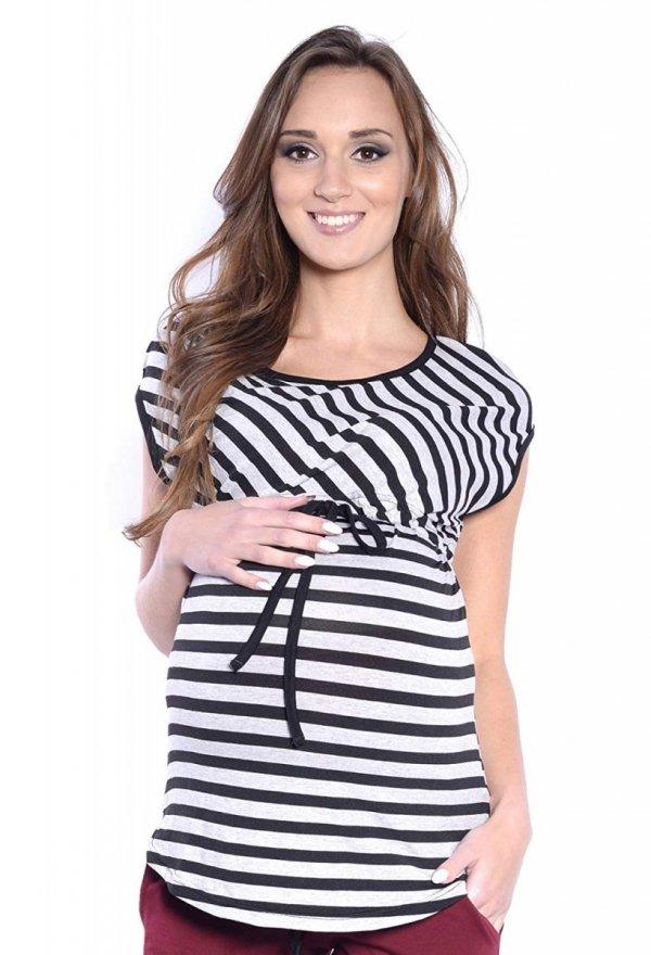 MijaCulture - 2 w1 bluzka ciążowa i do karmienia w paski 4093/M65 szary/czarny 2