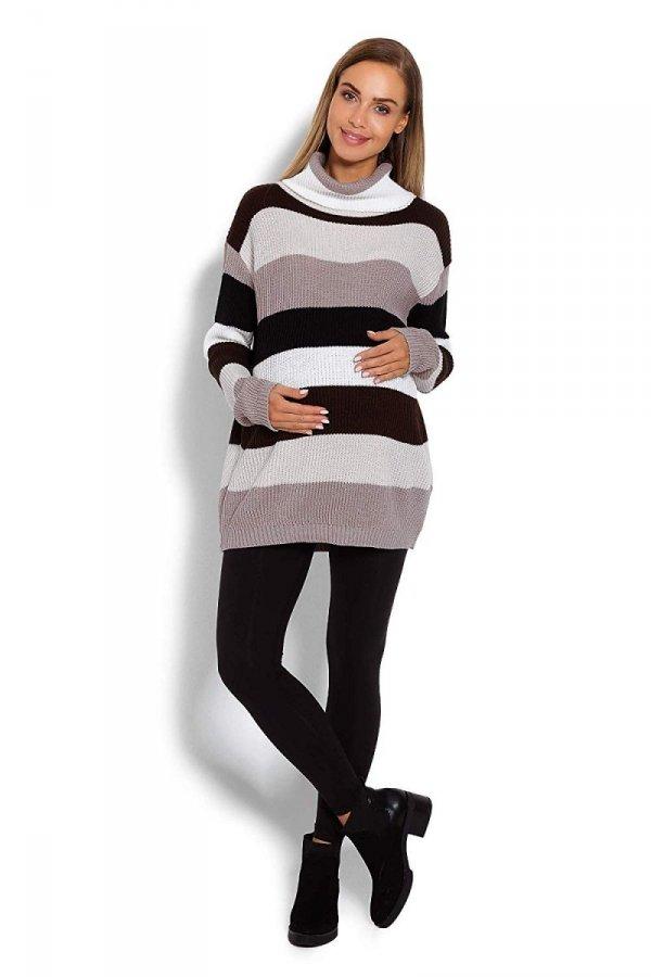 Wygodny sweter ciążowy w paski 70007/2012 brązowy 2