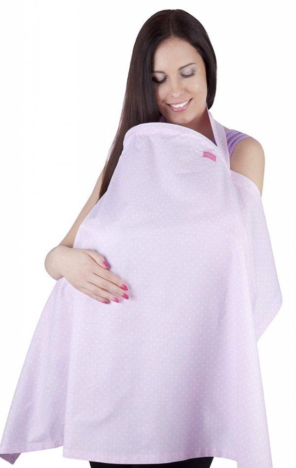 chusta, peleryna do karmienia piersią + etui 4010/M34 różowy 1