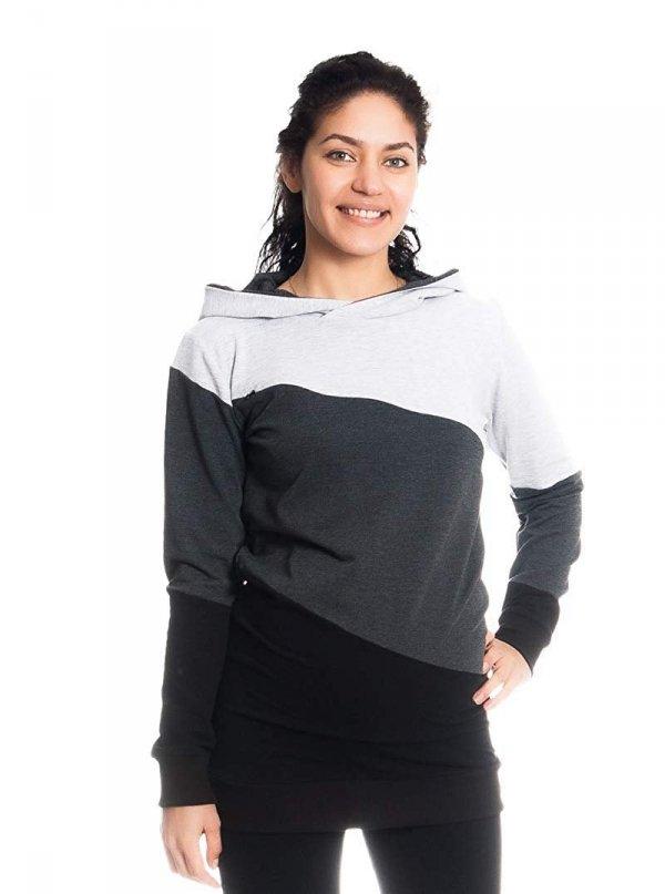 Wygodna bluza ciążowa i do karmienia 9094 czarny/melnż 5
