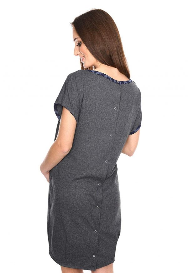 MijaCulture - koszula do porodu 4123 grafit 2