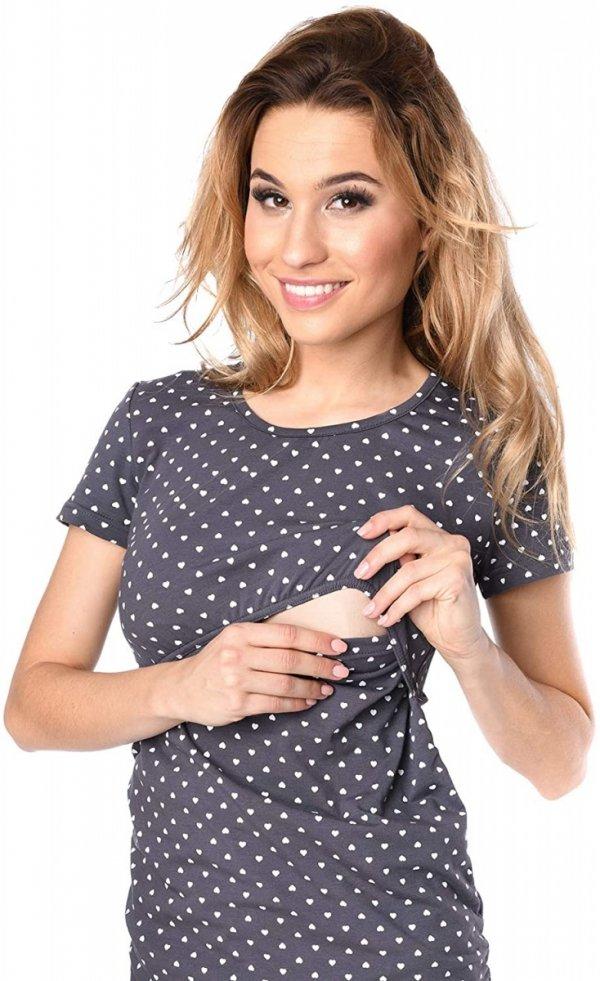 MijaCulture - bluzka 2 w 1 ciążowa i do karmienia krótki rękaw M03/3074 grafit/serca