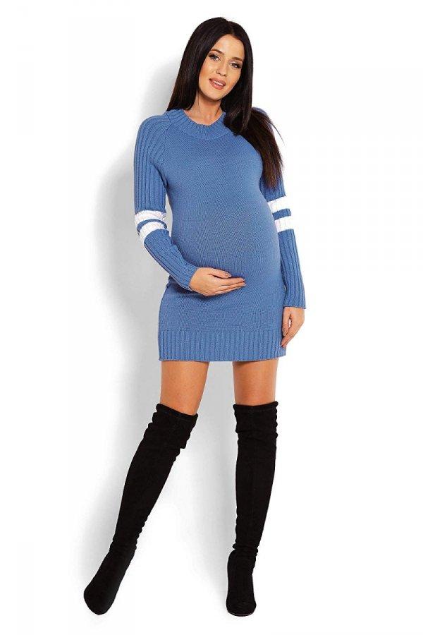 Wygodny sweter ciążowy z paskami na rękawach 70011/2010 niebieski 2