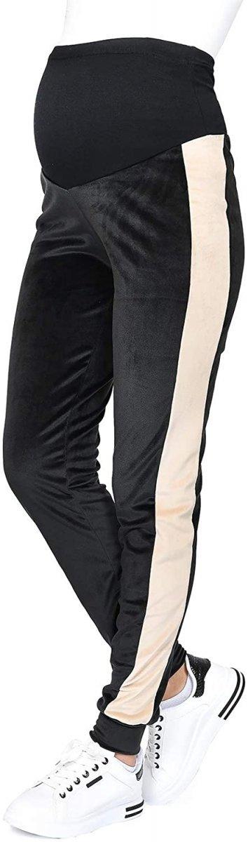 Wygodne spodnie ciązowe dresowe welurowe 9096 czarny/beż2