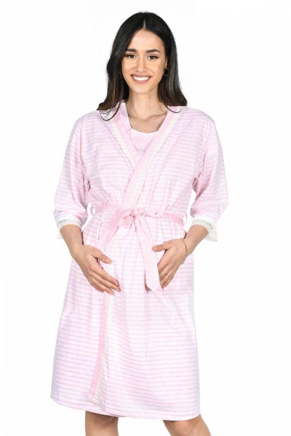 MijaCulture - 2 w 1 komplet koszula nocna i do karmienia + szlafrok 2075 róż