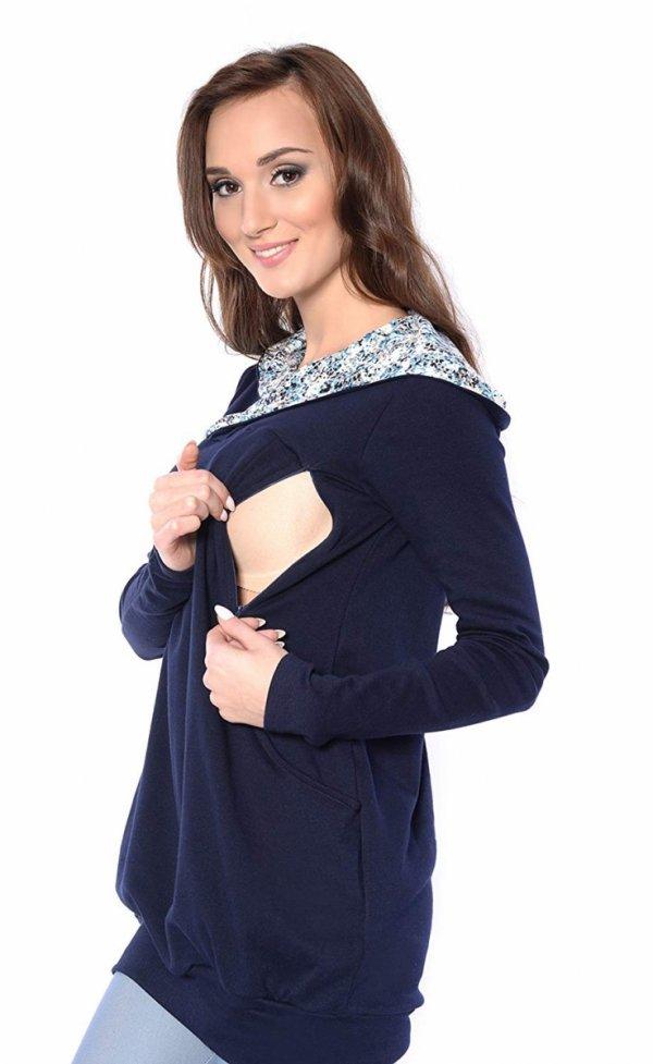 """bluza 3 w 1 ciążowa i do karmienia z kapturem """"Mimi"""" 7102A granat 4"""