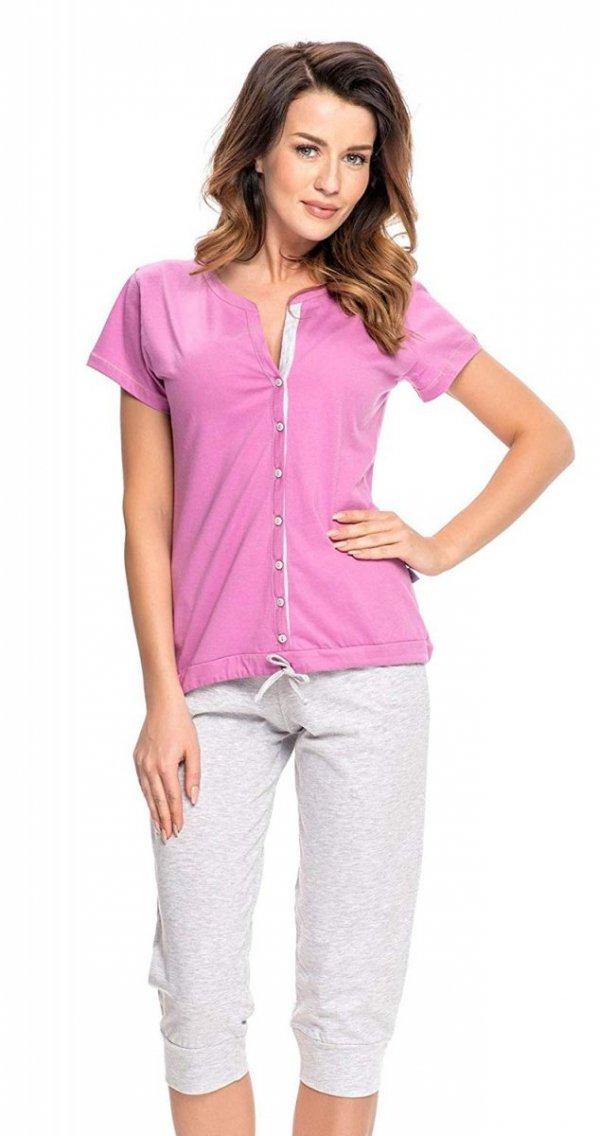 Wygodna piżama 2 w 1 ciążowa i do karmienia 5063 fuksja 2