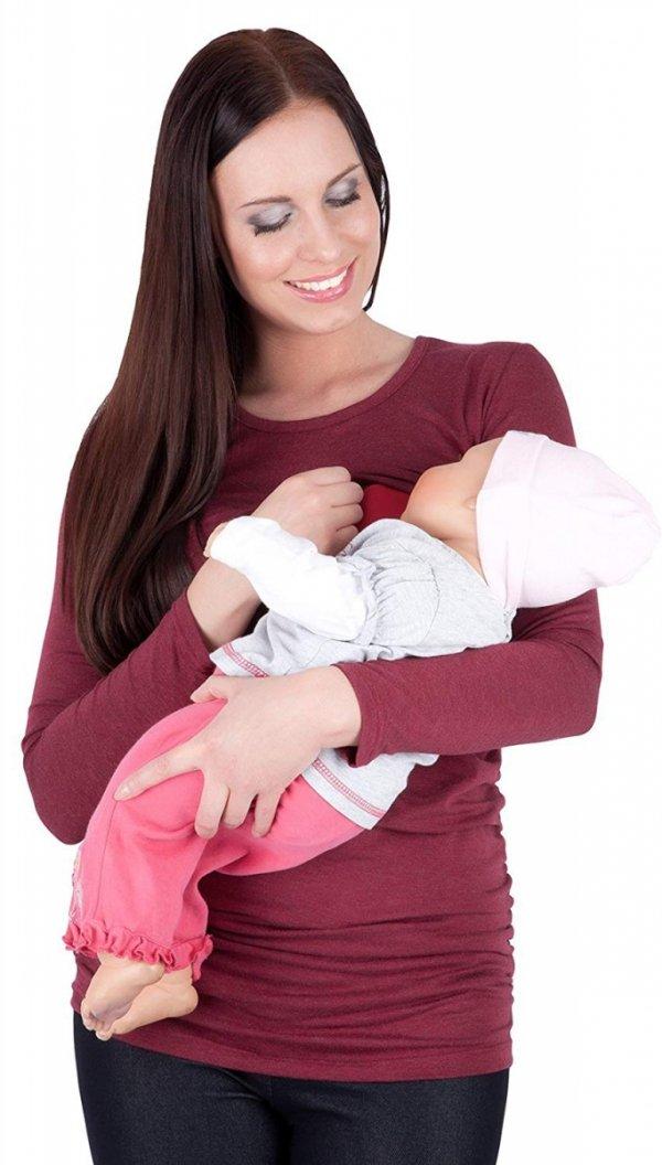 MijaCulture - bluzka 2 w 1 ciążowa i do karmienia długi rękaw M01/3070 burgund 3