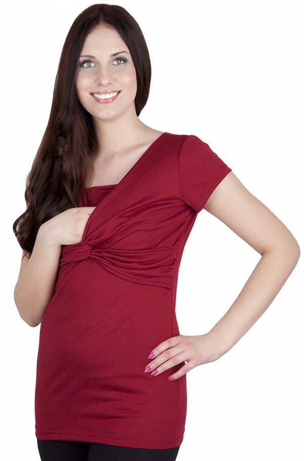 bluzka z pętelką 2 w1 ciążowa i do karmienia M18/4003 bordo 2
