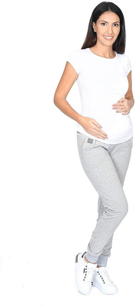 MijaCulture Wygodne spodnie dresowe ciążowe Coco M003 melanż4