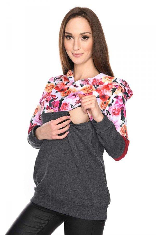 """MijaCulture - 3 w 1 bluza ciążowa i do karmienia """"Jane"""" 7144 grafit/kwiaty 1"""
