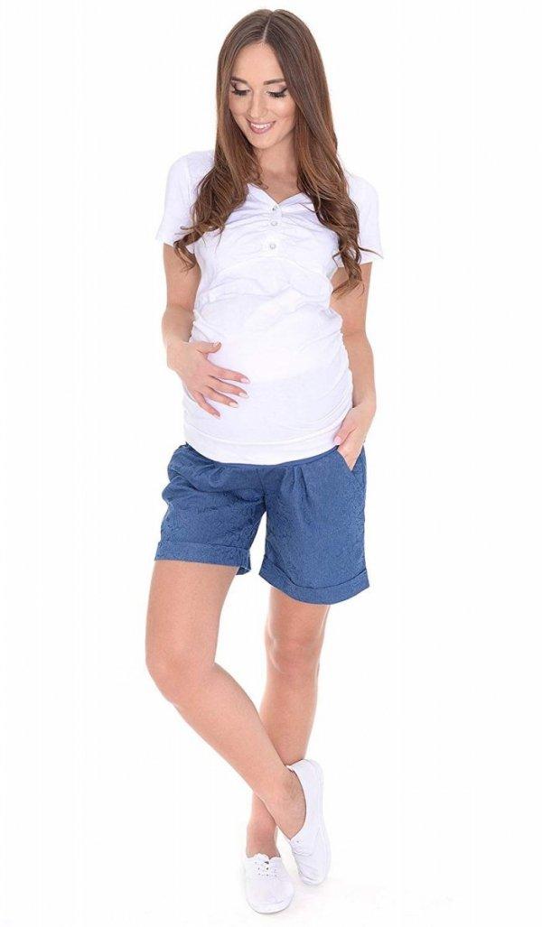 MijaCulture - cienkie szorty ciążowe 4074/M56 niebieske druk 3