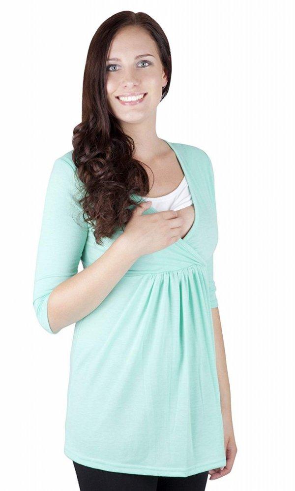 """MijaCulture - bluzka 2 w1 ciążowa i do karmienia długi rękaw """"Dora II"""" 7103 mięta 1"""