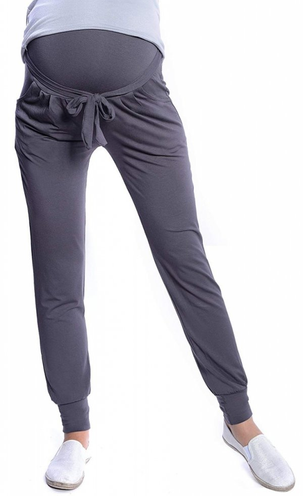 MijaCulture - spodnie alladynki z panelem 4012/ M 33 grafit 1