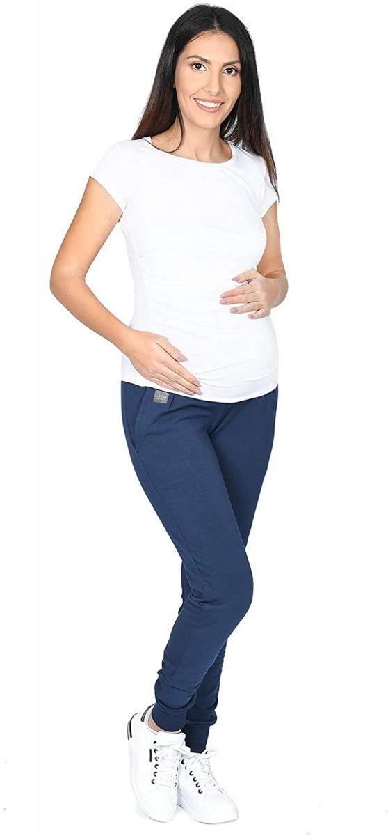 MijaCulture Wygodne spodnie dresowe ciążowe Coco M003 granat3
