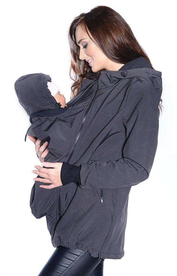 kurtka softshell 3D ciążowa i do noszenia dziecka M52/4068 szary 2